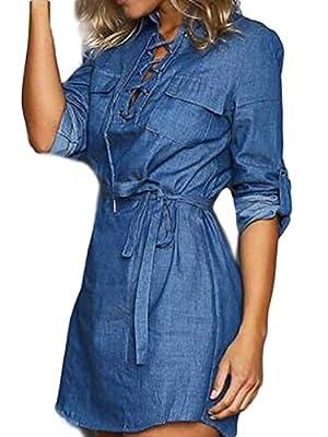 MAYSIKA Women's Lace Up 3/4 Sleeve Sexy Shift Denim Tunic Top