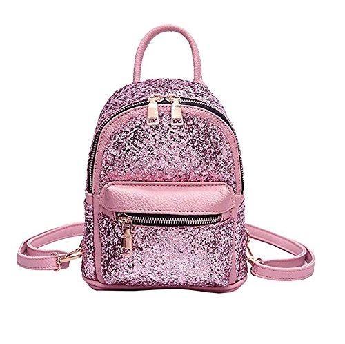 Womens Sequin Mini Backpack Leather Purse Bling Glitter Daypack Girls School Bag (Small Sequin)
