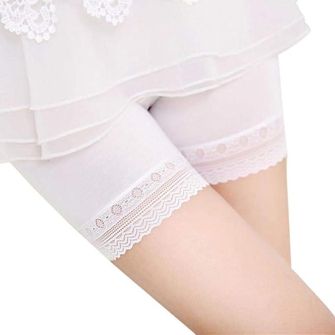 Bestow Se?Oras de Encaje Moda Cintura Alta y Abdomen Pantalones de Seguridad Pantalones Cortos