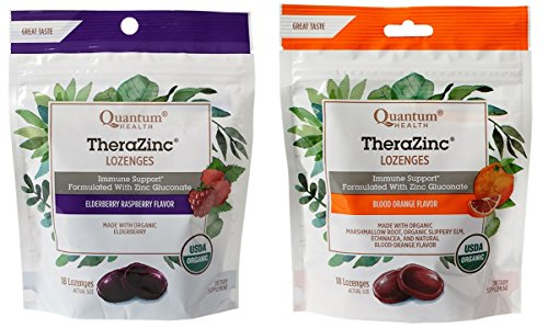 Quantum Health Immune Support Therazinc Lozenges 2 Flavor Bundle, (1) each: Elderberrry Raspberry, Blood Orange (18 count bags)