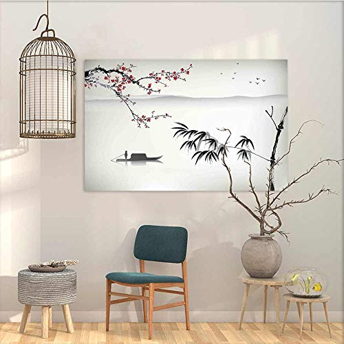 (Oncegod Canvas Wall Art Sticker Murals Nature Chinese Waterscape Painting Artwork Print with Bamboo Sakura Trees Birds Boat River Contemporary Abstract Art Black Gray W35 xL23)