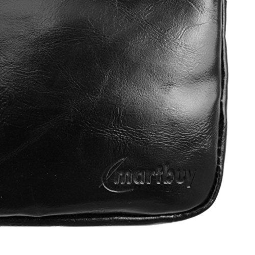 Emartbuy® Navy Azul Crossbody Mensajero Caja Case Cover Viajes Premium PU Cuero con Acolchado Interior y Correa Para Hombro Conveniente Para Samsung Galaxy Tab 3 V 7 Inch Tablet Negro Crossbody Bolsa