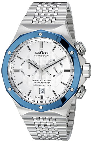 Edox-Mens-10108-3BU-AIN-Delfin-Analog-Display-Swiss-Quartz-Silver-Watch