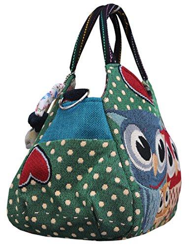 Eule Handtasche Henkeltasche ***3 EULEN - grün mit verspielten Accessoires*** Shoppertasche Schultertasche Eulenmotiv Umhängetasche - RETRO LOOK / absolut cool und stylish