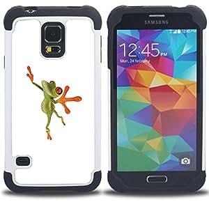 """Hypernova Híbrido Heavy Duty armadura cubierta silicona prueba golpes Funda caso resistente Para SAMSUNG Galaxy S5 V / i9600 / SM-G900 [Bailarín de la bailarina de la rana feliz""""]"""
