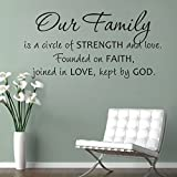 MairGwall Religious Sticker -Our Family is a Circle of Strength and Love' -Christian Wall Quote Wedding Decoration(Small,Black)