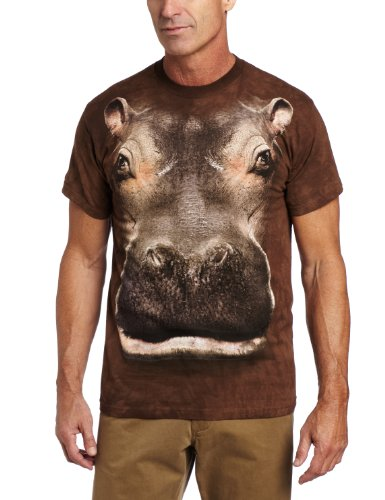 Hippo Head - The Mountain Hippo Head Adult T-Shirt, Brown, Large