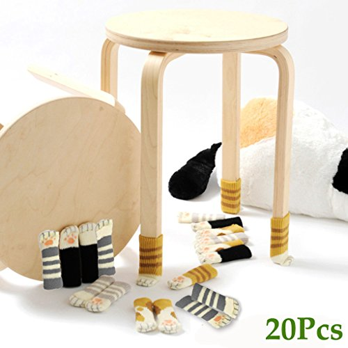20 Chair Socks - Furniture Feet Covers Caps Pads - Flexible Anti Scratch Knitted Wool Chair Leg Floor Protectors - Cute Cat Paw Design, 5 Different Colors in 1 (Cat Foot Pads)