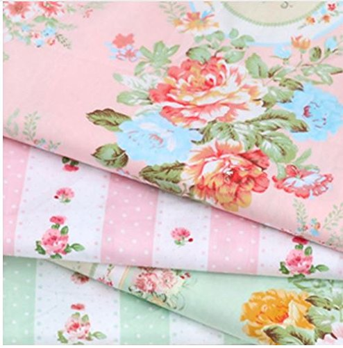 Express$ 50160m 4pcs/lot buddle 100% cotton twill pink/blue Euro style elegant calico fabric for DIY kids bedding dress patchwork cloth(made in China)