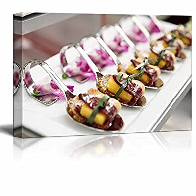 Canvas Prints Wall Art - Canapes with Cured Ham (Jamon or Prosciutto) on Banquet Table | Modern Wall Decor/Home Art Stretched Gallery Wraps Giclee Print & Wood Framed. Ready to Hang - 12