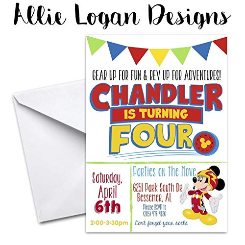Mickey Roadster Racers Custom Party Invitations