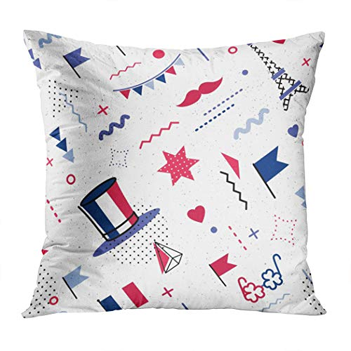 Janyho Throw Pillow Cover 14 July Happy Bastille Day Abstract Comfortable Print Living Room Sofa Bedroom Polyester Hidden Zipper Pillowcase Cushion Cover 16x16 Inch -