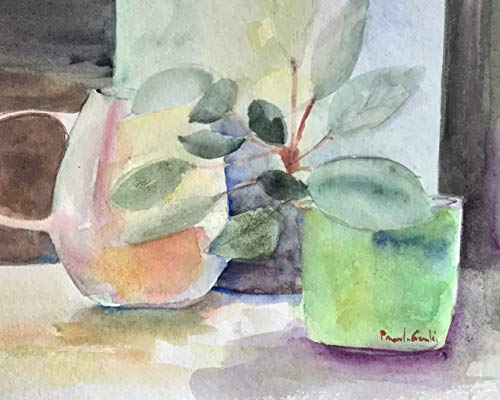 Original Watercolor, African Violet, 8 by 10