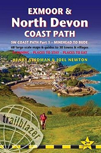 Exmoor & North Devon Coast Path: British Walking Guide: SW Coast Path Part 1 - Minehead to Bude: 68 Large-Scale Maps & Guides to 30 Towns & Villages - Planning, Places to Stay, Places to Eat
