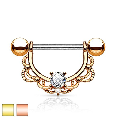 CZ Centered Filigree 14Kt. Gold Plated 316L Surgical Steel Freedom Fashion Nipple Rings (14kt Ring Filigree)