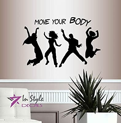 Wall Vinyl Decal Home Decor Art Sticker Move Your Body Phrase Lettering Girls Woman Man People Dance Fitness Sport Room Removable Stylish Mural Unique Design