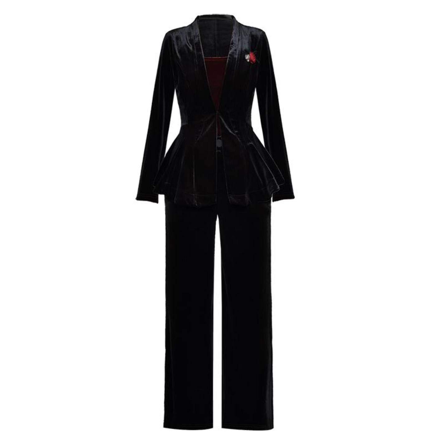 Women Three Pieces Suits Small Strap + Blazer + Trousers Velvet Sets