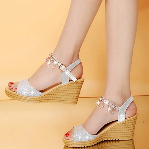 Slide Womens Wedge Heel Dress T Silvery on Slip Sandals Peep Fashion JULY Diamond Platform Slipppers High Toe String Walking PqH15XwH