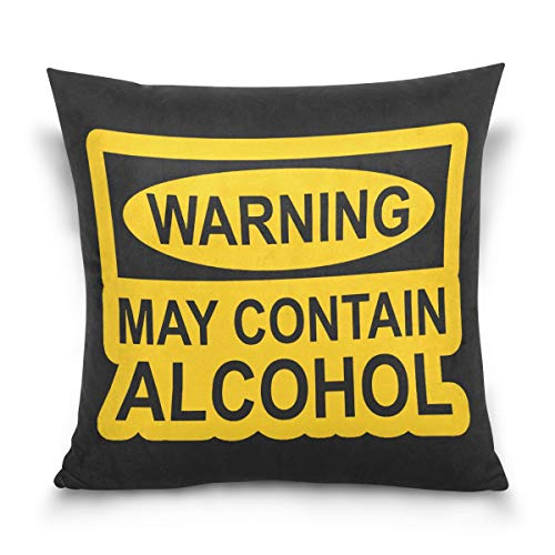 Aibileen May Contain Alcohol Cotton Soild Square Fashion Text Decorative Throw Pillow Case,Home Decor for Sofa Bed -