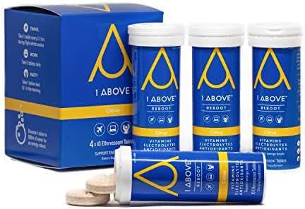 1Above Anti Jet Lag Flight Effervescent Drink Tablets. Super Antioxidant - Pycnogenol + Vitamins + Electrolytes for Travel, Work and Party. 40 Count (4 Tubes) - Citrus.