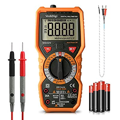 Multimeter Digital Tester Multifunction Advanced High-Precision True RMS 6000 Counts Voltage Current Resistance Temperature Multi Meter with LCD backlight
