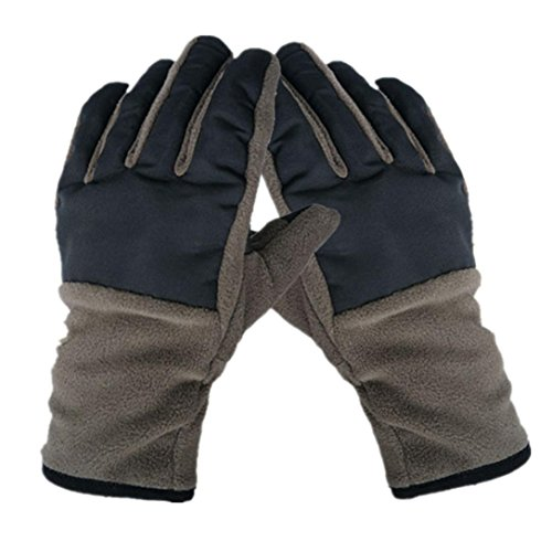 (Fheaven Double Thickening Fleece Ski Gloves Waterproof Windproof Outdoor Sports Gloves For Men (Coffee))