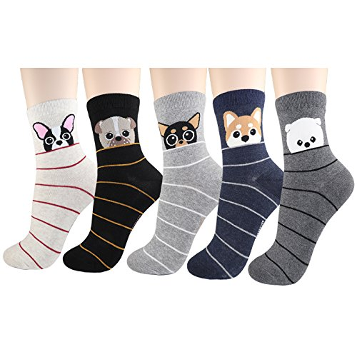 DearMy Womens Cute Design Casual Cotton Crew Socks | Good for Gift Idea| One Size Fits All | Gifts for Women (Face Dog 5Pairs) -