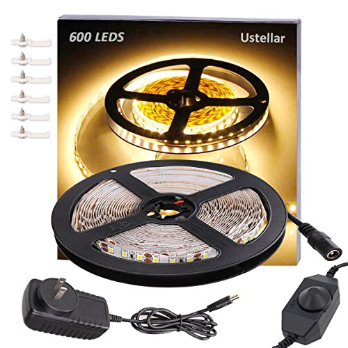 Ustellar Dimmable 600 LED Light Strip Kit with Power Supply, SMD 2835 LEDs, Super Bright 16.4ft/5m 12V LED Ribbon, Non-Waterproof, 3000K Warm White Lighting Strips, LED Tape