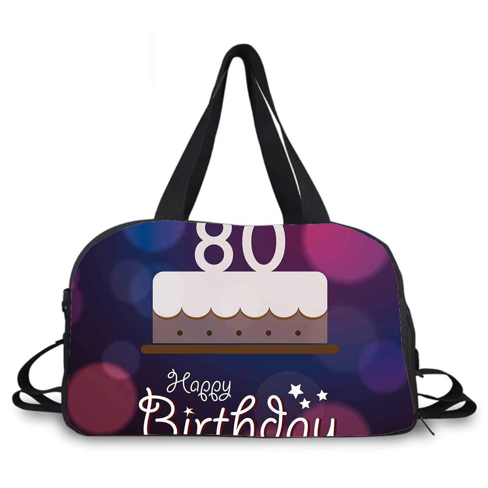 80th Birthday Decorations Personality Travel Bag,Abstract Backdrop with Birthday Party Cake and Candles for Travel Airport,One_Size