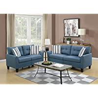 Benzara BM168688 Glossy Polyfiber Sofa with Loveseat and Cushions, Blue