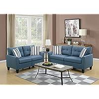 Benzara BM168688 Glossy Polyfiber Sofa with Loveseat and Cushions, Blue