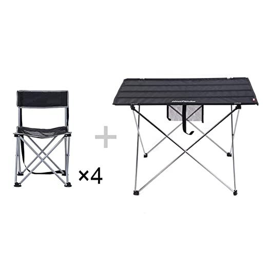 MDBYMX Mesa de Camping Plegable 4 sillas Conjunto terraza jardín ...