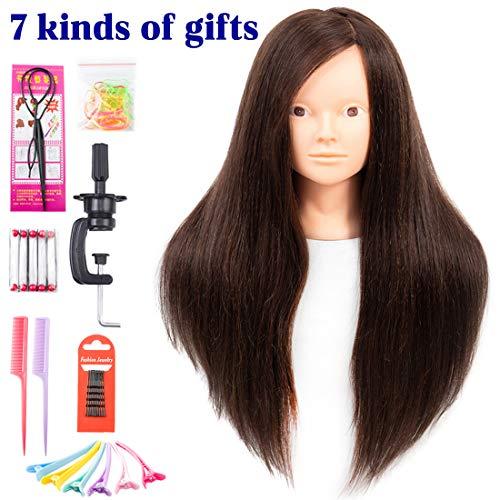 Cabeza practica peluqueria/ 60% pelo real/66cm/SIN MAQUILLAR