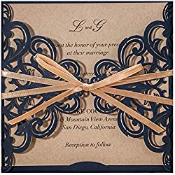 100X WISHMADE Blue Laser Cut Invitation with Handmade Champagne Color Ribbon and Envelope for Wedding Engagement Bridal Shower Birthday Dinner Party CW6175B