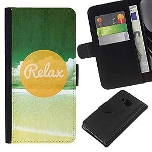 KLONGSHOP // Tirón de la caja Cartera de cuero con ranuras para tarjetas - Relax Beach - HTC One M7 //