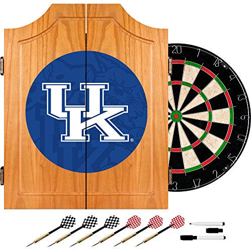 University Dart Cabinet - Trademark Gameroom University of Kentucky Wood Dart Cabinet Set - Fade