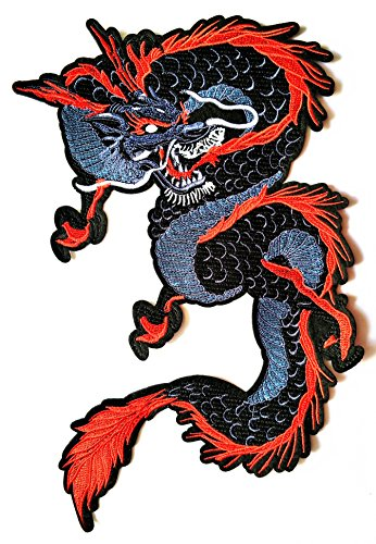 Nipitshop Patches Big Size Patch Chinese Japanese Dragon Dragon kung fu Dragon Embroidered Applique Iron On Sew On Patch for Clothes Costume or Gift Sets
