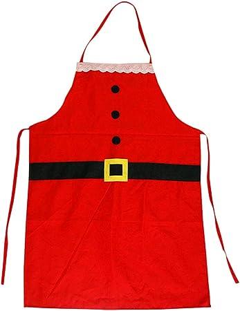Amosfun Delantales temáticos navideños Delantal de Chef Suministros de Cocina Decoración Festiva para el Restaurante Cocina casera Hornear (niños)