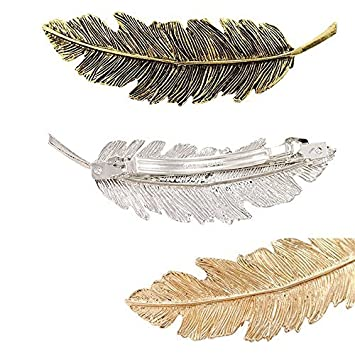 AENMIL Set of 3 Korean Leaves Feather Hairpin Retro Spring Exaggerated Patina Edge Ponytail Hair Clip Fashion Class