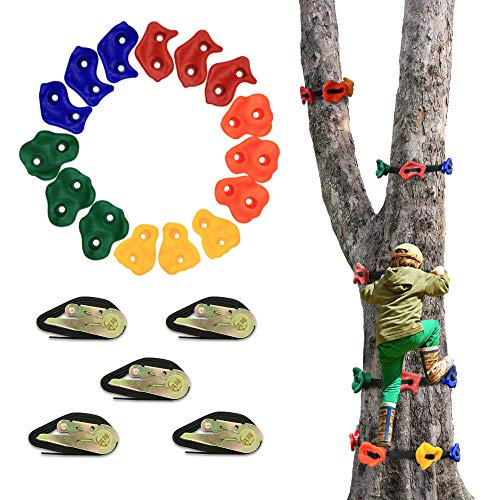 AmazeFan 15 Ninja Tree Rock Climbing Holds for Kids & Adults Climber, Climbing Grip Kits for Ninja Warrior Obstacle Course with 10' 160 Lbs. Load Cap Ratchet Tie Down Straps