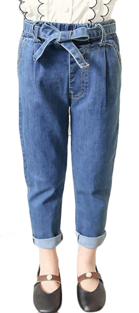 Cromoncent Girl Stretch Crimping High Rise Denim Pants Belted Slim Fit Pant