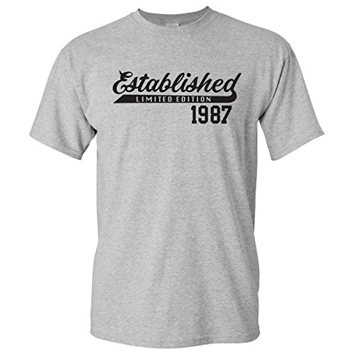 UGP Campus Apparel Established 1987 - Limited Edition Generation X Millennial Birthday T Shirt - Large - Sport Grey (Year Established)