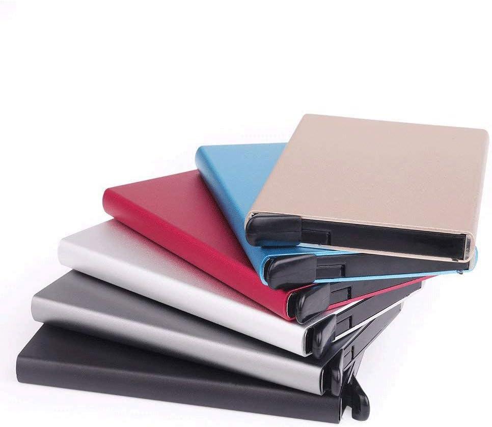 Tarjeteros para Tarjetas de Cr/édito Cartera de Aluminio Ultradelgado Bloqueo RFID Autom/ático Pop Up Capacidad 4-6 Hojas,Negro