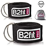 Ankle Straps for Cable Machines by B2FIT PRO – Premium Padded Double D-Ring Ankle Cuffs for Gym Workouts – Fitness Equipment for Leg Exercises, Cable Kickbacks, Glutes, Weight Lifting for Men & Women