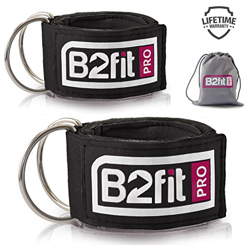 Ankle Straps for Cable Machines by B2FIT PRO - Premium Padded Double D-ring Ankle Cuffs for Gym Workouts - Fitness Equipment for Leg Exercises, Cable Kickbacks, Glutes, Weight Lifting for (Padded Cuffs)