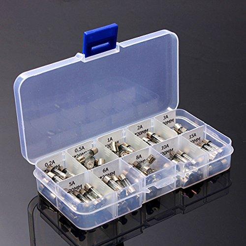 rosenice fusibles de cristal 5 x 20 mm rá pido Blow fusibles de Buss Quick Blow coche tubo de vidrio fusibles surtidos kit 100 unidades