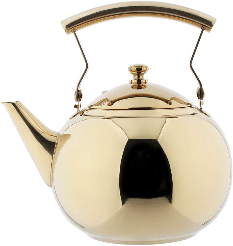51 Ounce OMGard Gold Tea Pot with Infuser Loose Tea Leaf Filter 1.5 Liter Stainless Steel Teapot Coffee Water Small Kettle Strainer Set Warmer Teakettle for Stovetop Induction Stove Top 1.6 Quart