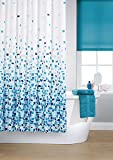 Vibrant Mosaic Blue On A White Background Polyester Shower Curtain Including 12 White Shower Curtain Rings By Waterline by Waterline