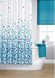 vibrant mosaic blue on a white background polyester shower curtain including 12 white shower curtain rings