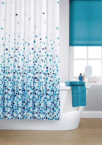 Vibrant Mosaic Blue On A White Background Polyester Shower